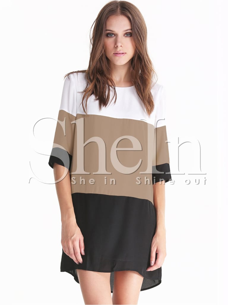 Color Block Dresses Black And White White Coffee Black Color Block