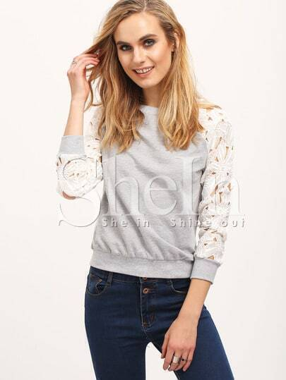 Grey Floral Crochet Long Sleeve Sweatshirt