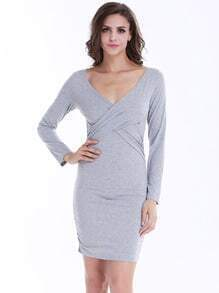 Grey Bleaching Long Sleeve Cross-over Waist Rouched Bodycon Dress