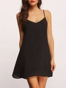 Black Spaghetti Strap Shift Dress