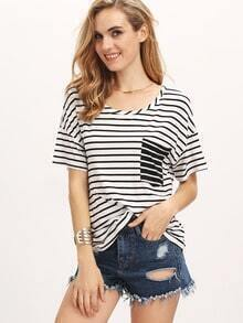 White Short Sleeve Striped Pocket T-shirt