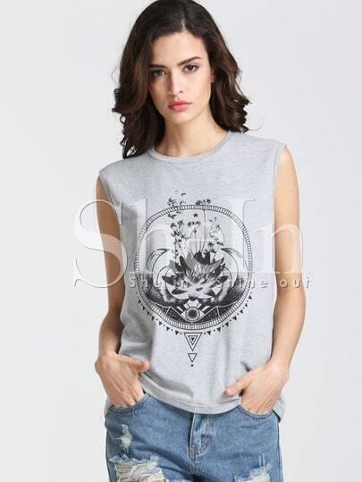 Grey Sleeveless Lotus Print T-shirt