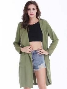 Green Long Sleeve Epaulet Pockets Coat