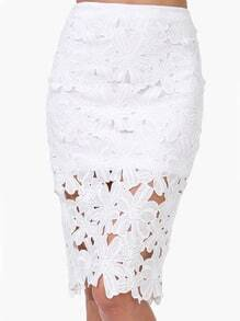 Floral Lace Crochet Pencil Skirt