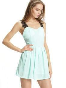 Blue Suspenders Sleeveless With Lace Pleated Dress
