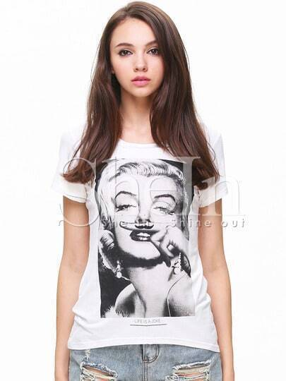 White Short Sleeve Beauty Print T-Shirt