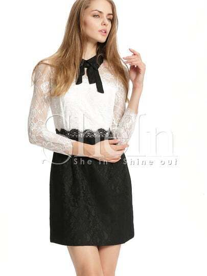 White Long Sleeve Color Block Lace Dress pictures