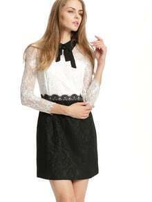 White Long Sleeve Color Block Lace Dress