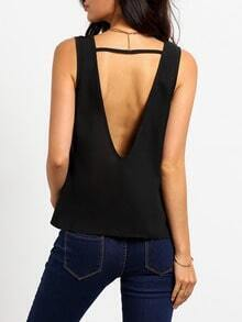 Black Sleeveless Backless Tank Top