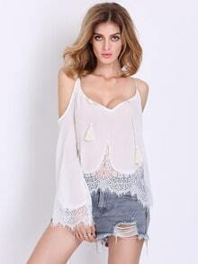 White Spaghetti Strap With Lace Blouse
