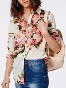 White Long Sleeve Random Floral Print Blouse