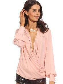 Pink Long Sleeve Front Cross Blouse