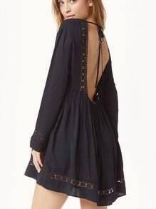 Black Long Sleeve Backless Dress