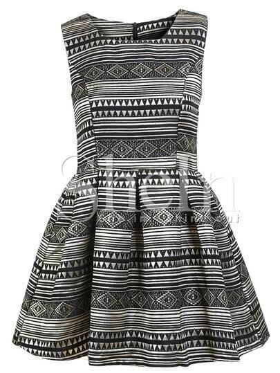 Black Sleeveless Bleached Geometric Flare Dress