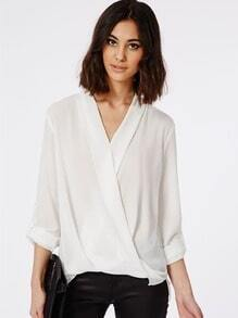 White Long Sleeve Front Cross Dip Hem Blouse