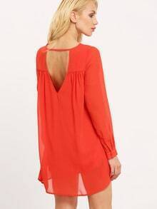 Orange Long Sleeve Backless Dress