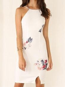White Sleeveless Spaghetti Strap Floral Dress