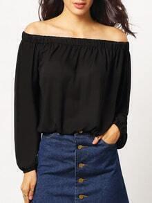 Black Long Sleeve Off The Shoulder Blouse