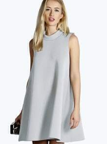 Grey Sleeveless Shift Dress