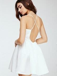 White Spaghetti Strap Cross Back Flare Dress