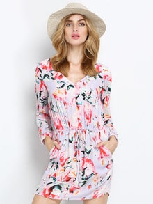 Purple Long Sleeve Floral Print Dress