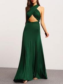 Green Porm Charmeuse Charmeuse Drapery Halter Backless Maxi Dress
