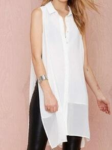 White Sleeveless Split Shift Blouse