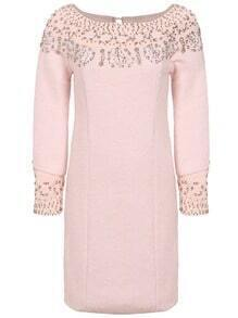 Pink Long Sleeve Beading Dress