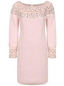 Pink Long Sleeve Beading Rhinestones Dress