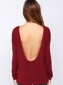 Wine Red Long Sleeve Backless T-shirt