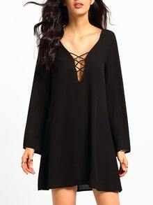 Black Long Sleeve Shift Blouson Dress