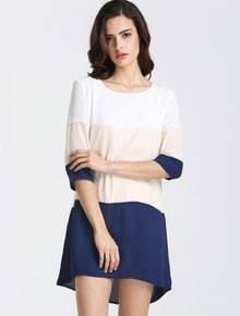 White Apricot Navy Color Block Dress