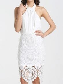 White Sleeveless Halter Hollow Lace Dress