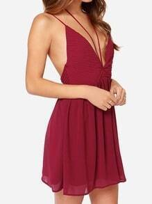 Wine Red Spaghetti Strap Pleated Dress