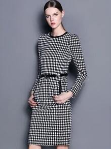 White Black Long Sleeve Houndstooth Dress With Belt