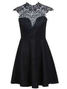 Black Contrast Hollow Lace Pleated Dress