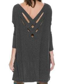 Grey Long Sleeve Cross Back Shift Dress