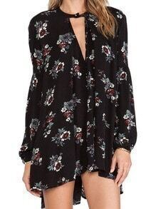 Black Long Sleeve Floral Print High Low Dress
