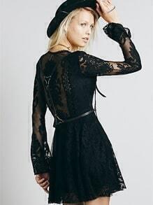 Black Long Sleeve V Neck Hollow Lace Dress