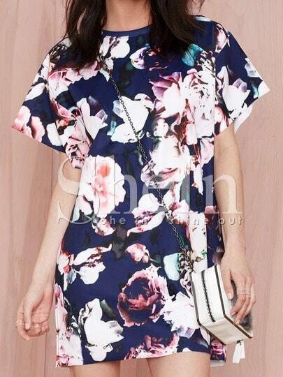 Multicolour Short Sleeve Floral Print Dress