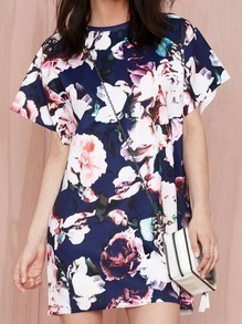 Blue Short Sleeve Floral Print Dress