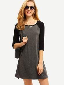 Grey Black Color Block Casual Dress