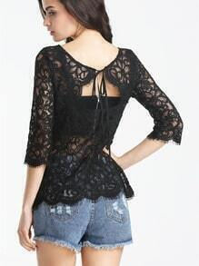 Black Crochet Lace Backless Blouse