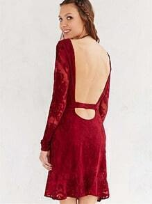 Red Long Sleeve Lace Backless Dress