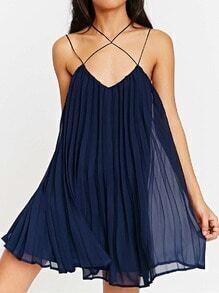 Navy Spaghetti Strap Pleated Dress