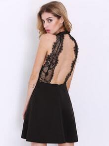 Black Halter Contrast Lace Backless Dress(Exclude Belt)