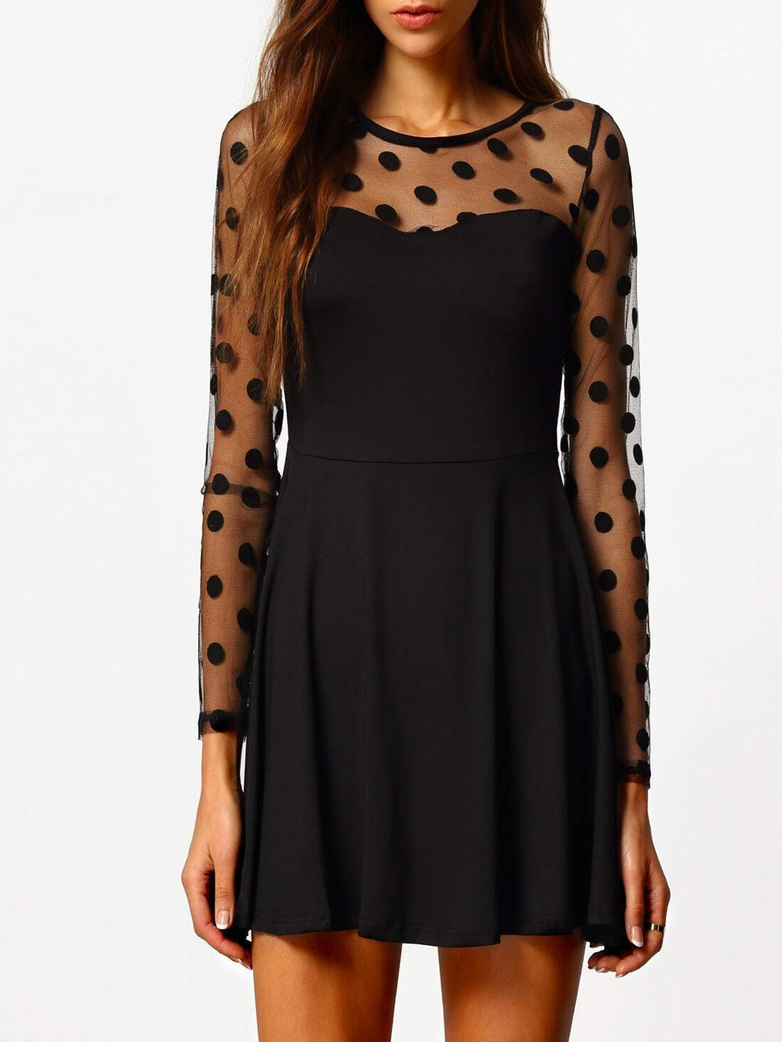 Black Long Sleeve Polka Dot Pleated Dress