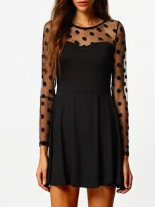 Black Long Sleeve Spotty Polka Dot Pleated Dress