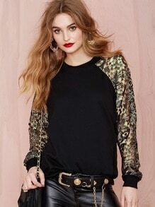 Black Contrast Crochet Lace Sleeve Sweatshirt
