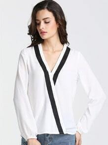 White Long Sleeve Cross Front Blouse